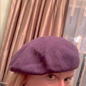 Purple wool beret hat
